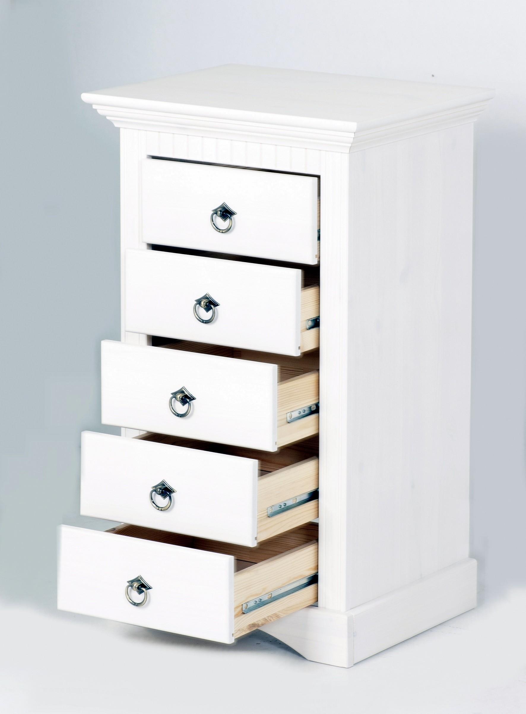 kommode mit 5 schubladen wei gebeizt und lackiert. Black Bedroom Furniture Sets. Home Design Ideas