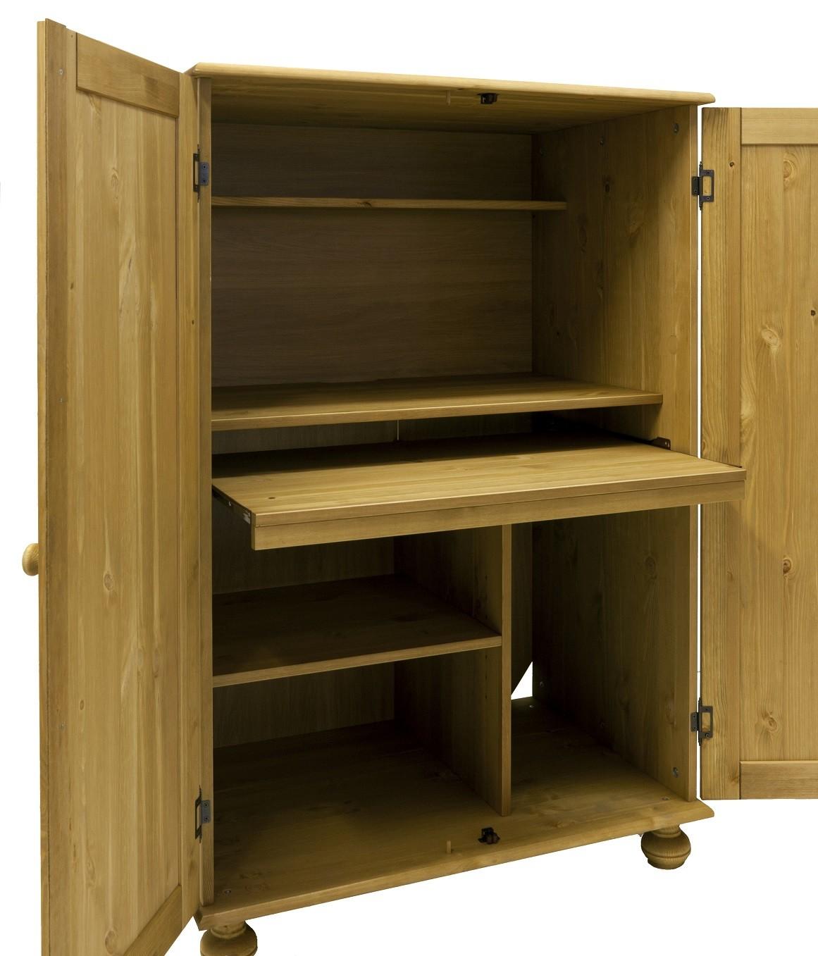 pc schrank aus massiver kiefer gelaugt ge lt. Black Bedroom Furniture Sets. Home Design Ideas