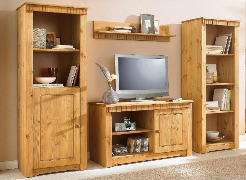 4tlg wohnwand im landhausstil. Black Bedroom Furniture Sets. Home Design Ideas