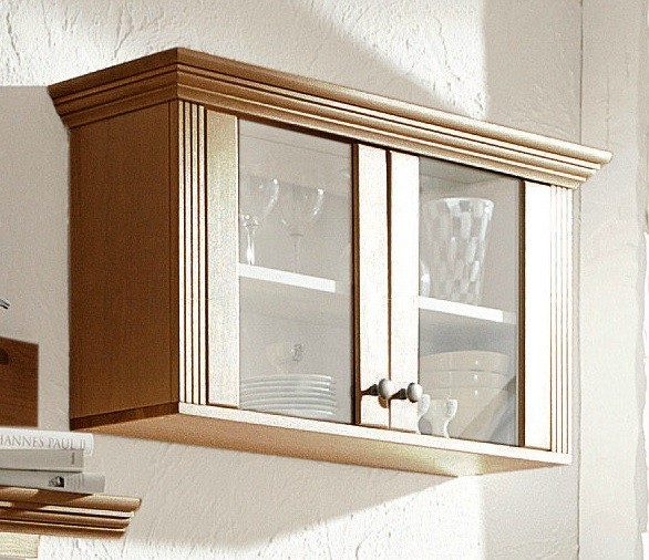 h ngeschrank vitrine aus kiefernholz kolonialfarben lackiert. Black Bedroom Furniture Sets. Home Design Ideas