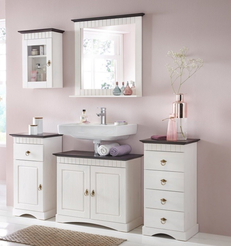 5 tlg badm bel set aus kiefernholz wei braun. Black Bedroom Furniture Sets. Home Design Ideas