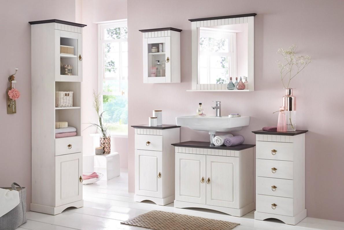 6 tlg badm bel set aus kiefernholz wei braun. Black Bedroom Furniture Sets. Home Design Ideas