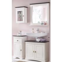 4 tlg Badmöbel- Set aus Kiefernholz weiß/braun, Badschrank, Badschränke