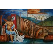 """Bild """"Leda und der Schwan"""" 70x100cm Mythologie"""