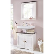 2 tlg Badmöbel- Set aus Kiefernholz weiß/braun, Badschrank, Badschränke