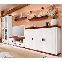 Wohnwand aus Kiefernholz, weiß/kirschbaumfarben lackiert
