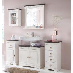 5 tlg Badmöbel- Set aus Kiefernholz weiß/braun, Badschrank, Badschränke