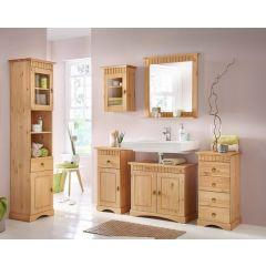 6 tlg Badmöbel- Set aus Kiefernholz gelaugt/geölt, Badschrank, Badschränke