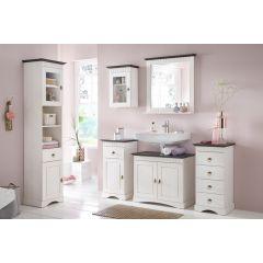 6 tlg Badmöbel- Set aus Kiefernholz weiß/braun, Badschrank, Badschränke