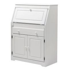Sekretär aus Kiefernholz weiß lackiert, Schreibtisch
