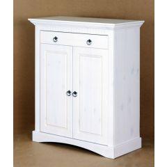 2trg. Kommode aus Kiefernholz weiß lackiert, Schrank, Sideboard