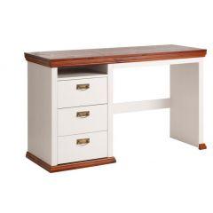 Schreibtisch aus Kiefernholz weiß/kirsch lackiert, Tisch