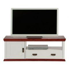TV- Lowboard im Landhausstil, weiß/kirschbaumfarben